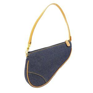 Christian Dior Saddle Hand Bag Purse Blue